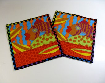 Quilted Mug Rugs - One Fish, Two Fish - Colorful Kaffe Fassett