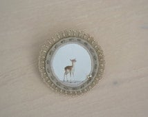 deer animal brooch - felt brooch with deer - natural history -  woodlands - neutral camel brown