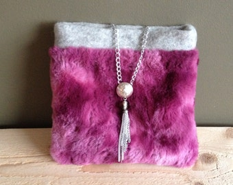 faux fur magenta and grey clutch - silver metal chain accent - night out statement clutch - sporran bag - furry pink clutch