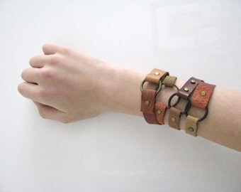 brown leather boho hippie gypsy festival stacking bracelet genuine leather gift for her