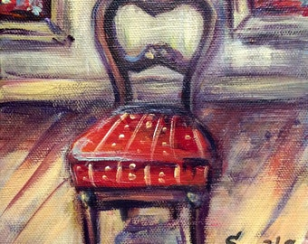 """Red Chair Painting on Canvas 6'' x 6"""""""