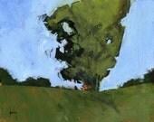 Original tree landscape painting - Windbreak