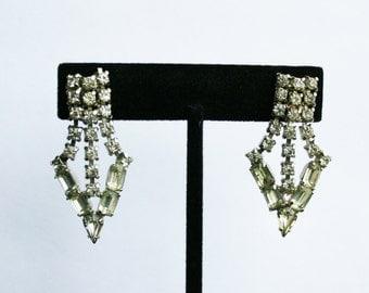 Vintage Rhinestone Chevron Earrings