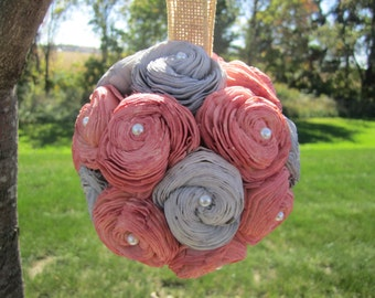 Peach and grey sola flower kissing ball - centerpieces or flower girl ball
