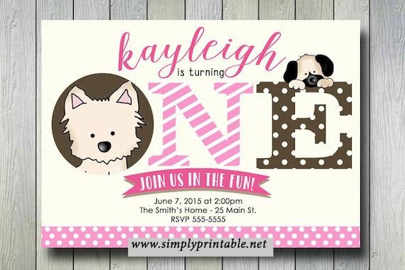 Puppy Dog Birthday Invite, Puppy Invitation, Girls Bday Printable Digital