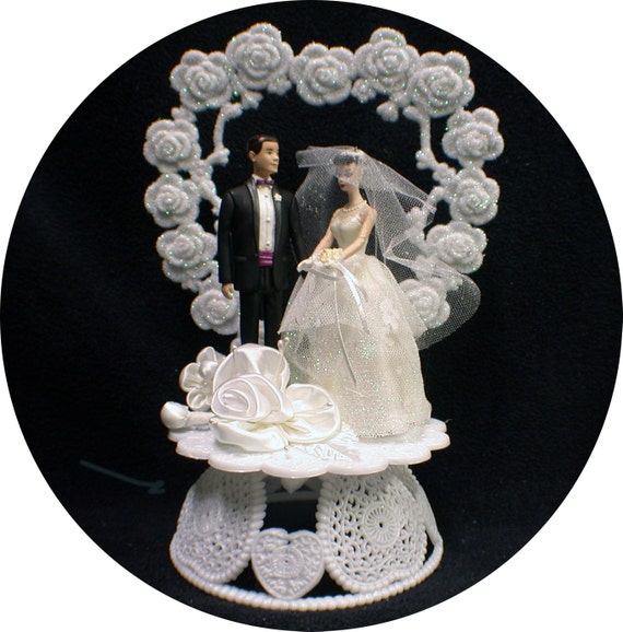 barbie wedding cake topper 1950 style hair burnette brown hair ken 11071