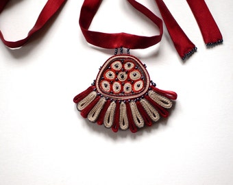 Textile necklace red, statement necklace, fiber pendant floral design, Textile jewelry - OOAK ready to ship