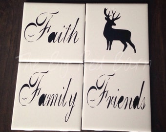 Faith, Family, Friends Coaster Set