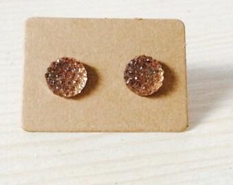 Pale peach druzy style earrings