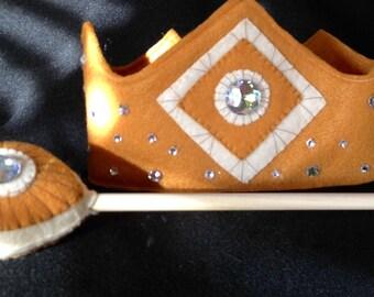 Felt Princess Crown,Queen Crown,Golden Wand,Crystals