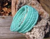 CLEARANCE SALE!  Various satin finish pastels... beaded spiral wrap bracelets