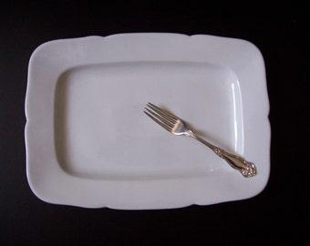 Vintage White Ironstone Serving Platter