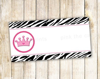 Princess Labels - Birthday Party Baby Girl Shower Return Address Gift Favor Tag Printable Editable INSTANT DOWNLOAD