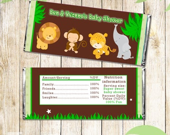 Candy Bar Wrapper Printable Personalized Jungle Zoo Safari Labels Stickers - Birthday Party Baby Shower Polka Dots Boy Custom Unisex  Wraps