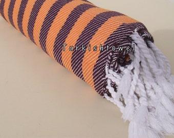 Turkishtowel-NEW Colors, Soft-High Quality,Hand Woven,Cotton Bath,Beach,Pool,Spa,Yoga,Travel Towel or Sarong-Orange,Deep Burgundy Stripes