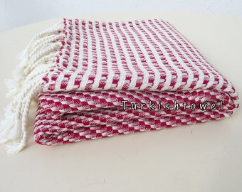 Turkishtowel-2015 Collection-Softest,Hand Woven,Cotton Bath,Beach,Pool,Spa,Yoga,Travel Towel or Sarong-Red,Cream Stripes