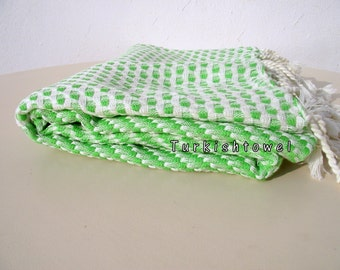 Turkishtowel-2015 Collection-Softest,Hand Woven,Cotton Bath,Beach,Pool,Spa,Yoga,Travel Towel or Sarong-Neon Green,Cream Stripes
