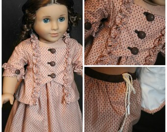 1770s Caraco & Skirt outfit for 18in. dolls
