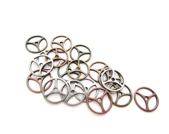 18 Mixed Metal Gear Charms / Cogs , Sprockets