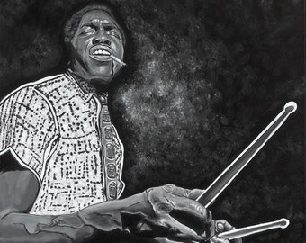 Elvin Jones Painting Jazz Drummer Print Black and White Portrait Painting Jazz Musician Musical Monochrome Wall Art Gift for Jazz Lover