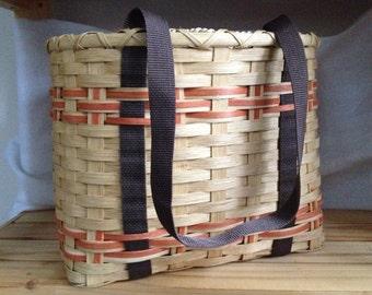 Handmade Errand Tote Basket - Oak, Orange and Brown - Sale