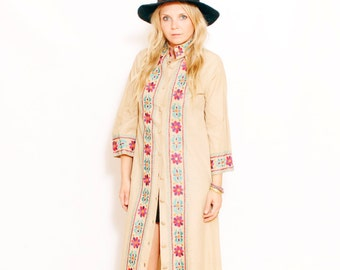 Vintage Embroidered India Maxi Dress, Duster, Caftan