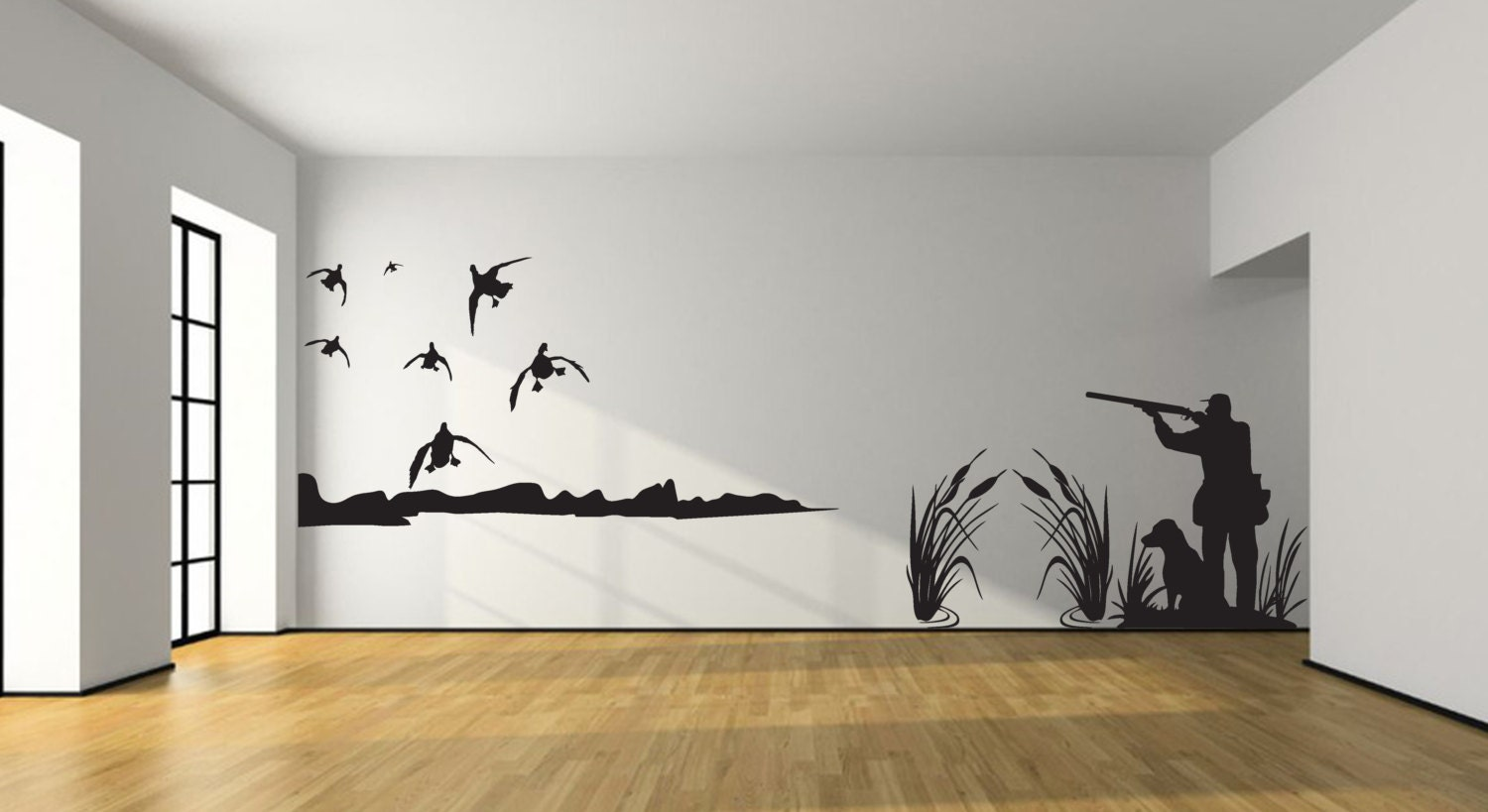 Mallard duck hunting wall decal large hunter and dog duck for Duck hunting mural