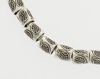 15 of Karen Hill Tribe Silver Leaf Imprint Tubular Beads 5x6 mm. :ka3972