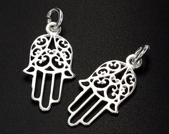 2 of 925 Sterling Silver  Little  Hamsa , Hand Of Fatima Charms 10x16 mm. :th1960