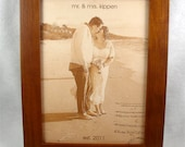 Photograph Engraved in REAL LEATHER - Wedding, 3rd Anniversary or Family Photos Engraved into Leather