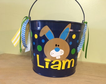 Personalized Easter basket, 10 quart metal bucket, name or monogram, polka dots, Easter, baby, or birthday gift, bunny design