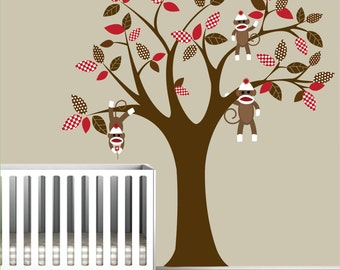 Kids wall decals Baby decals nursery decals Tree decals sock monkey pattern leaf tree decals mural wall stickers tree-e010