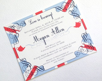 Bridal Shower British High Tea Party Invitations