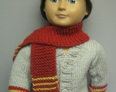 American Girl/Boy Doll Cardigan, Cap and Scarf