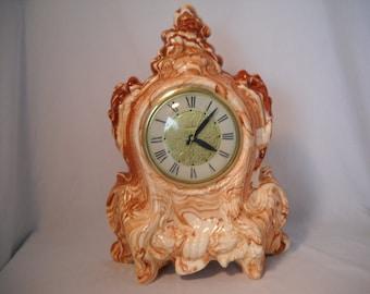 Vintage Lanshire Clock Alaska Native Clay Mantle Clock/Desk Clock/Clay Clock