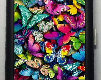 Colorful Butterflies  Metal Cigarette Case or Wallet No.47