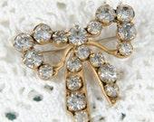 1920s Vintage Bow Pin - Rhinestone Preppy - B4