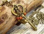 Small Antiqued Brass Skeletin Key Bird Necklace - Brass Bird - Gold Sand Stone, Steampunk, Woodland, Victorian