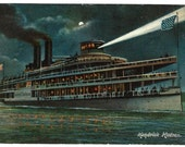 1907 Hendrick Hudson Steamship Night View Postcard, Hudson River Day Line Steamer Steamboat Ship, Antique / Vintage Ephemera