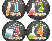 Baby Monthly Stickers FREE Baby Month Milestone Sticker Baby Month Stickers Baby Boy Bodysuit Stickers Photo Props Chemistry Chalkboard 122B