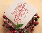 Letterpress Christmas card Hand lettered Christmas Greetings in rich RED Made in Australia
