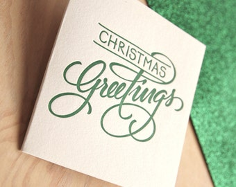 Letterpress Christmas card Hand lettered Christmas Greetings in PINE GREEN Made in Australia