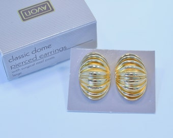 SALE 30 PERCENT Off Vintage 1989 Signed Avon Classic Dome Goldtone Size LARGE Glossy Fluted Oval Pierced Earrings in Original Box nib