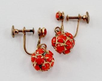 Vintage Gold Tone Prong Set Red Orange Glass Rhinestone Disco Ball Screw On Dangle Drop Earrings