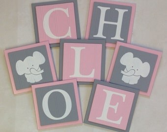 Elephant Nursery Room Decor Art Customized Baby Girl Wall Blocks Custom Name Sign 6x6 Square Light Pink Gray Personalized Wooden Plaques