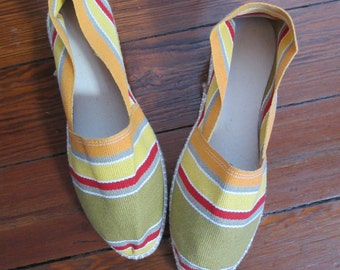 Vintage Men's Striped Cotton Espadrilles Spain 10 / 44 unworn