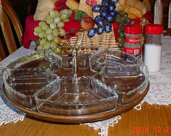 Vintage Revolving Serving Dish - Lazy Susan - 1960s Faux Wood Dip Tray