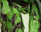 Light Forest Green Nuno felted scarf  OOAK