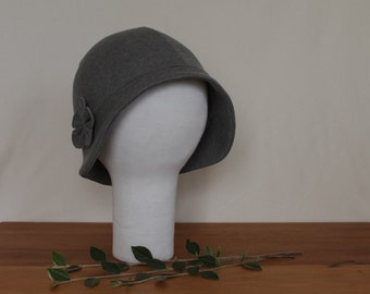 CUSTOM Brimmed Cloche Hat with Flower