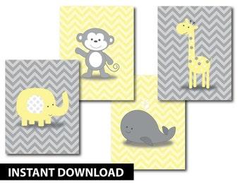 Noah 39 s ark nursery art baby prints instant download - Babyzimmer jungle ...